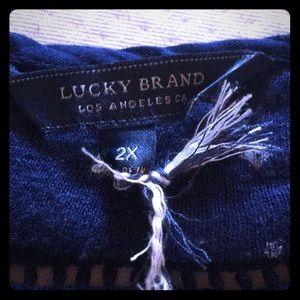 Lucky Brand Tops - LUCKY BRAND 🍀 NAVY BLUE COTTON LINEN TUNIC TOP 2X